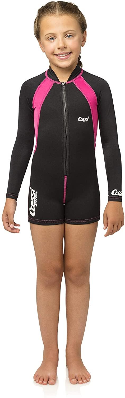 Cressi Kids Long Sleeve Swimsuit, Black/Pink, S