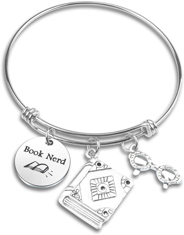 Book Lover Gift Bookworm Gift Book Nerd Bracelet Book Club Teacher Bracelet Librarian Gift Readers Gift Writer Author Bracelet