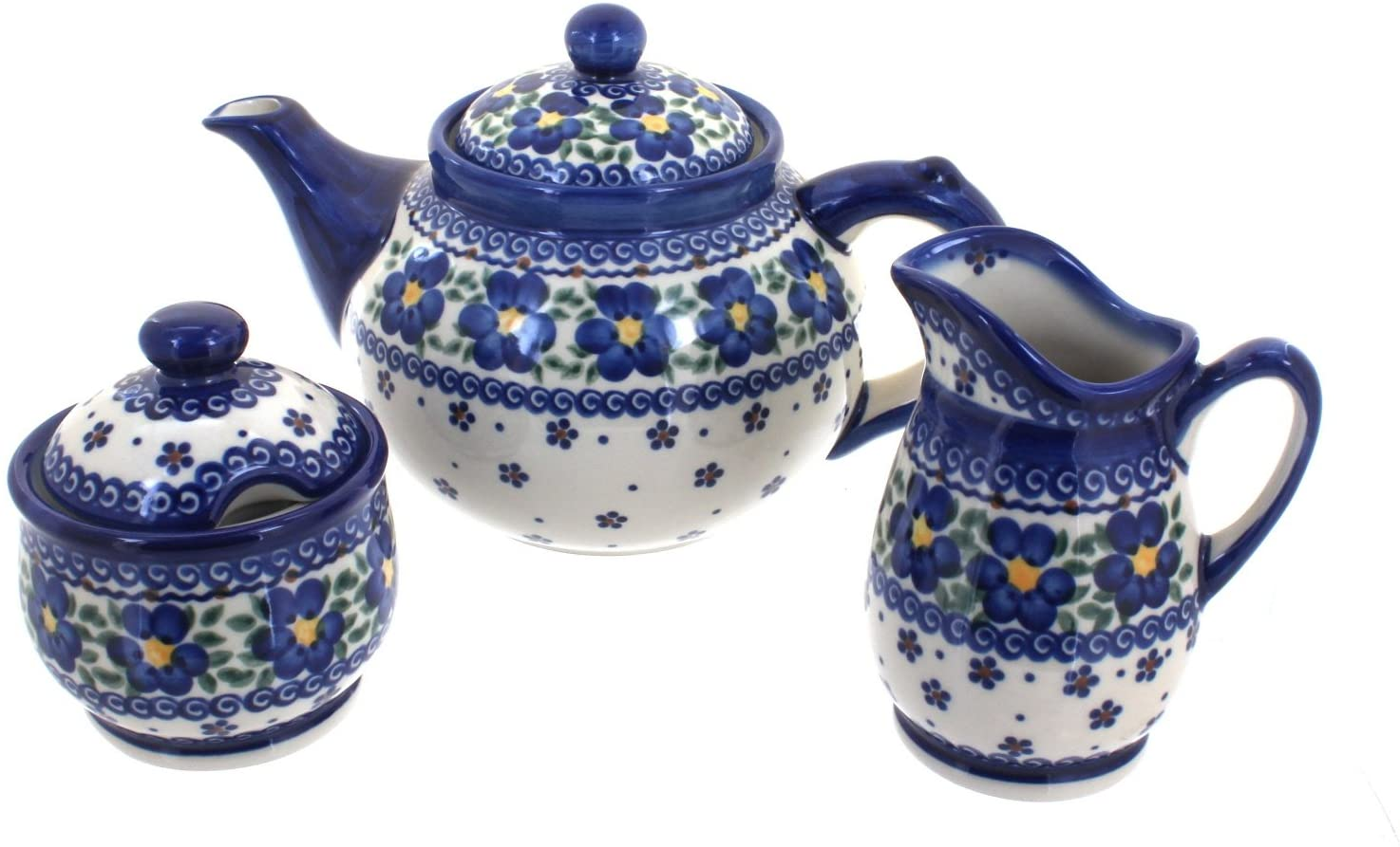 Blue Rose Polish Pottery Spring Blossom 3 Piece Tea Set