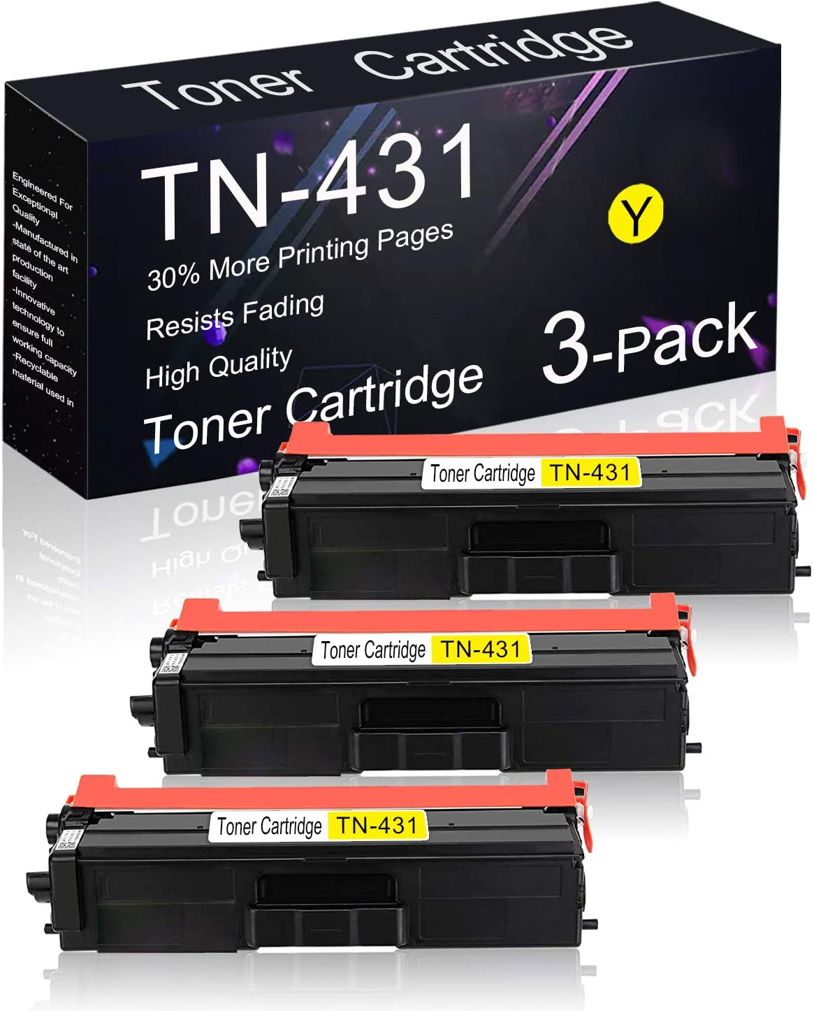 Compatible Toner Cartridge 3 Pack Yellow TN-431 Replacement for Brother MFC-L8610CDW / L8900CDW / L9570CDW / L9570CDWT, DCP-L8410CDW, HL-L9310CDWTT / L9310CDWT / L8360CDWT / L8260CDW Printers.