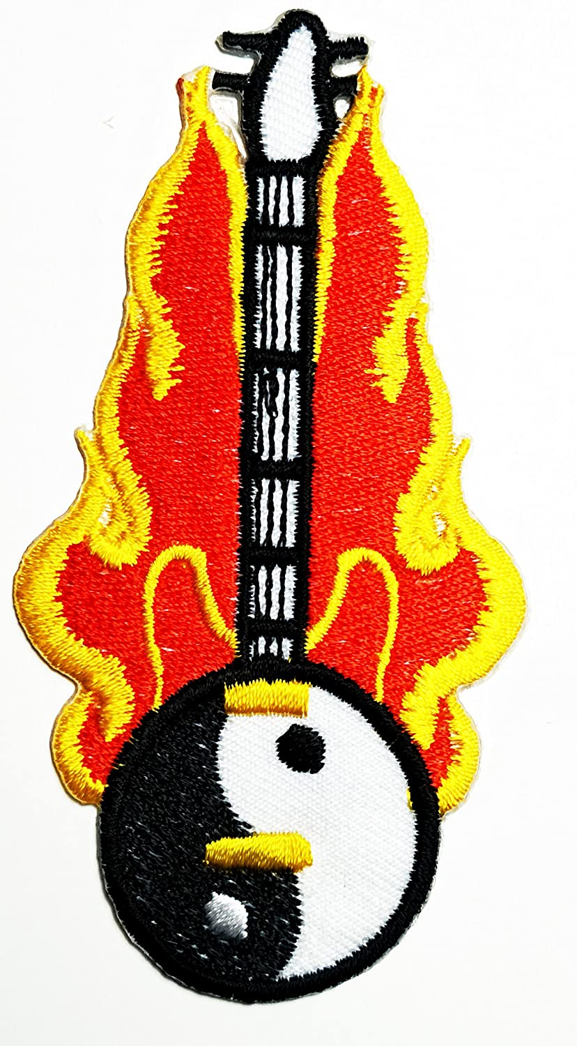 HHO Yin Yang guitar fire Tao Dao Chinese peace trance boho retro hippie Patch Embroidered DIY Patches, Cute Applique Sew Iron on Kids Craft Patch for Bags Jackets Jeans Clothes