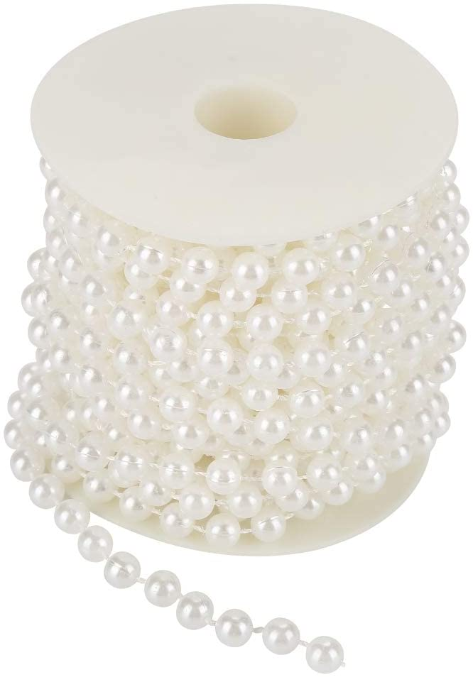 Simlug Wire Beads, Two Colors Pearl Wire Beads, Pearl Garland, for Home Decorate Wedding for Bedroom(White)