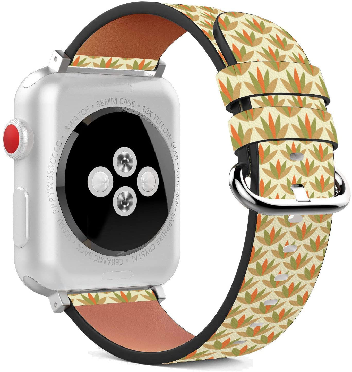Compatible with Apple Watch - 42mm / 44mm (Serie 5,4,3,2,1) Leather Wristband Bracelet with Stainless Steel Clasp and Adapters - Yellow Desert Bush