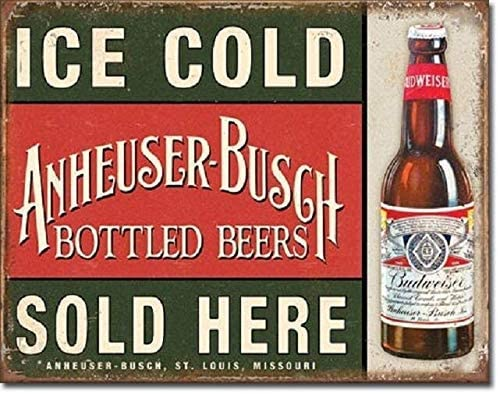 HAIMAX Metal Signs for Cafe Gym Bar Garage Decor Novelty Anheuser Busch Bud Budweiser Bottled Ice Cold Beers Sold Retro Tin Sign 16x12in