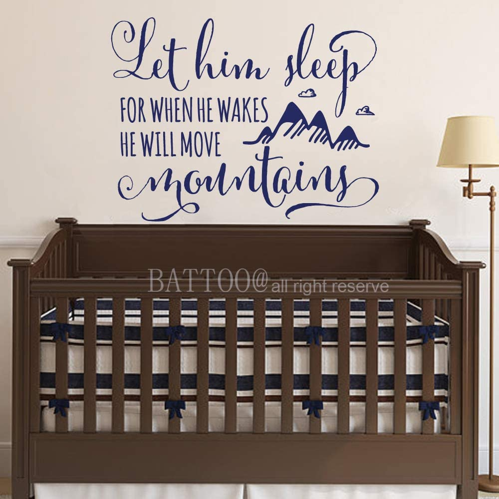 BATTOO Mountains Wall Decal Let Him Sleep for When He Wakes He Will Move Mountains Quote Woodland Clouds Baby Boy Nursery Decal Boy Wall Sticker, 29