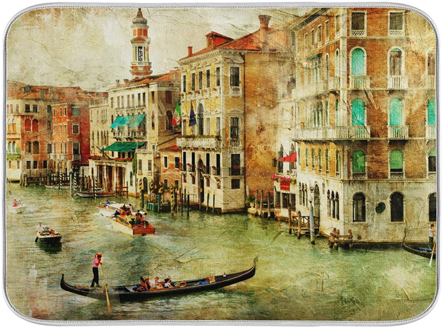 Dish Drying Mat for Kitchen Oil Painting Landscape Of Venice Absorbent Heat Resistant Dishes Drainer Pad 16 x 18 Inch