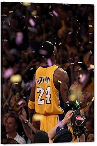 Kobe Bryant Canvas Wall Art LA Lakers Kobe Championship Picture,Super Star Framed Artwork for Home Wall Decor,Black Manba Canvas Print Poster for Men Boys Room Office Decor 16x24inch(unframed)