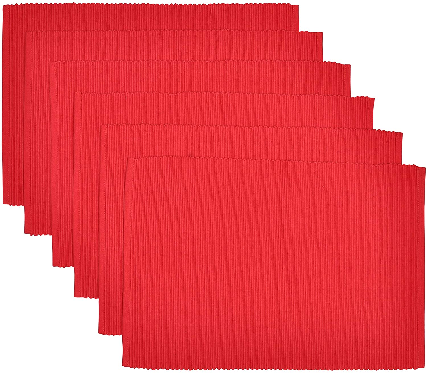 Yourtablecloth Ribbed Cotton Placemats – Placemat with Thicker Construction – Heavy Duty, Eco Friendly & Elegant Large Placemats –Set of 6 –Be it Restaurant or Home – Red