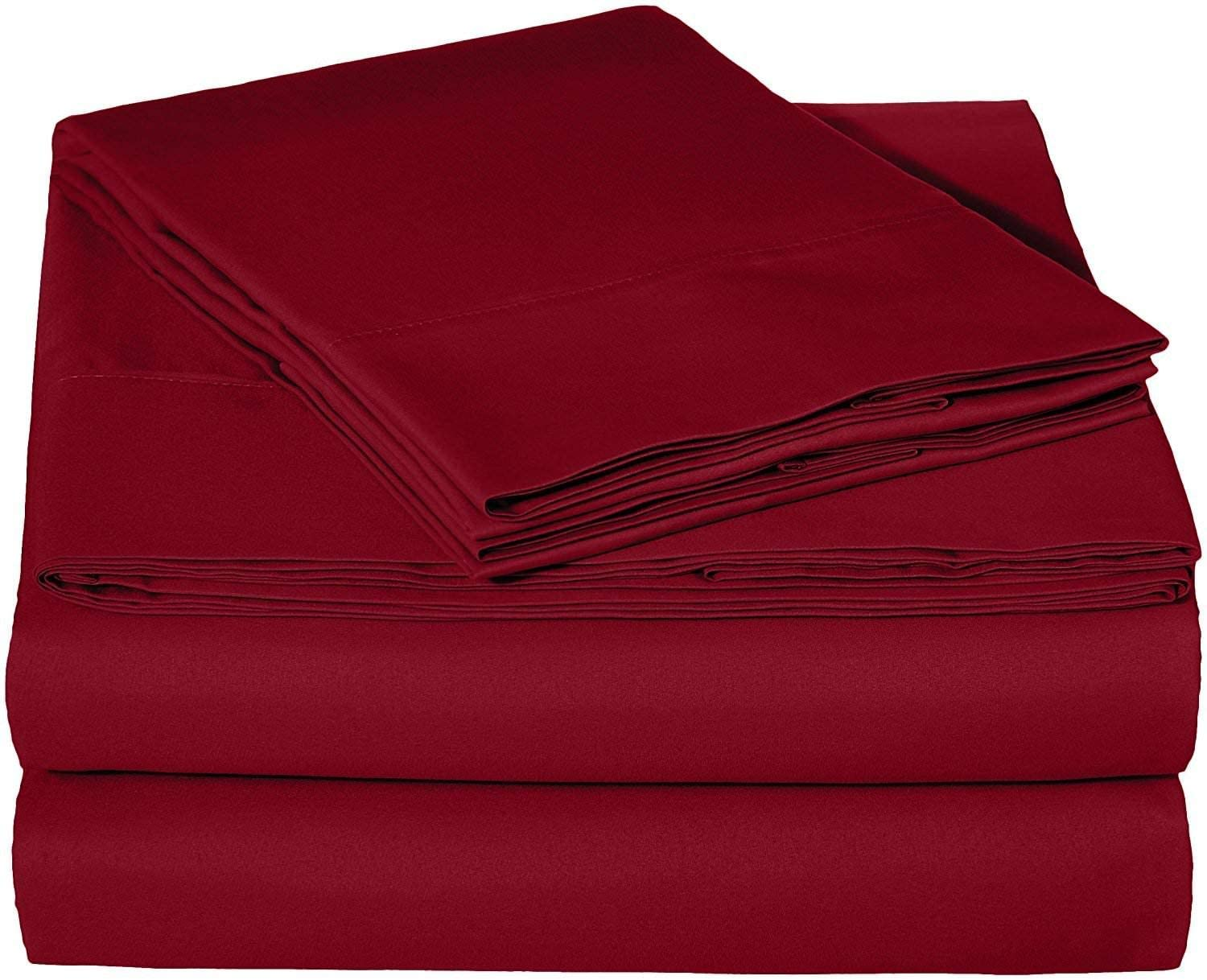 Microfiber RV Sheet Sets, 60x80 Camper Queen, Burgundy Solid, Bed Sheets for Campers, RV's & Travel Trailers Fit Mattress up to 15 Inch deep