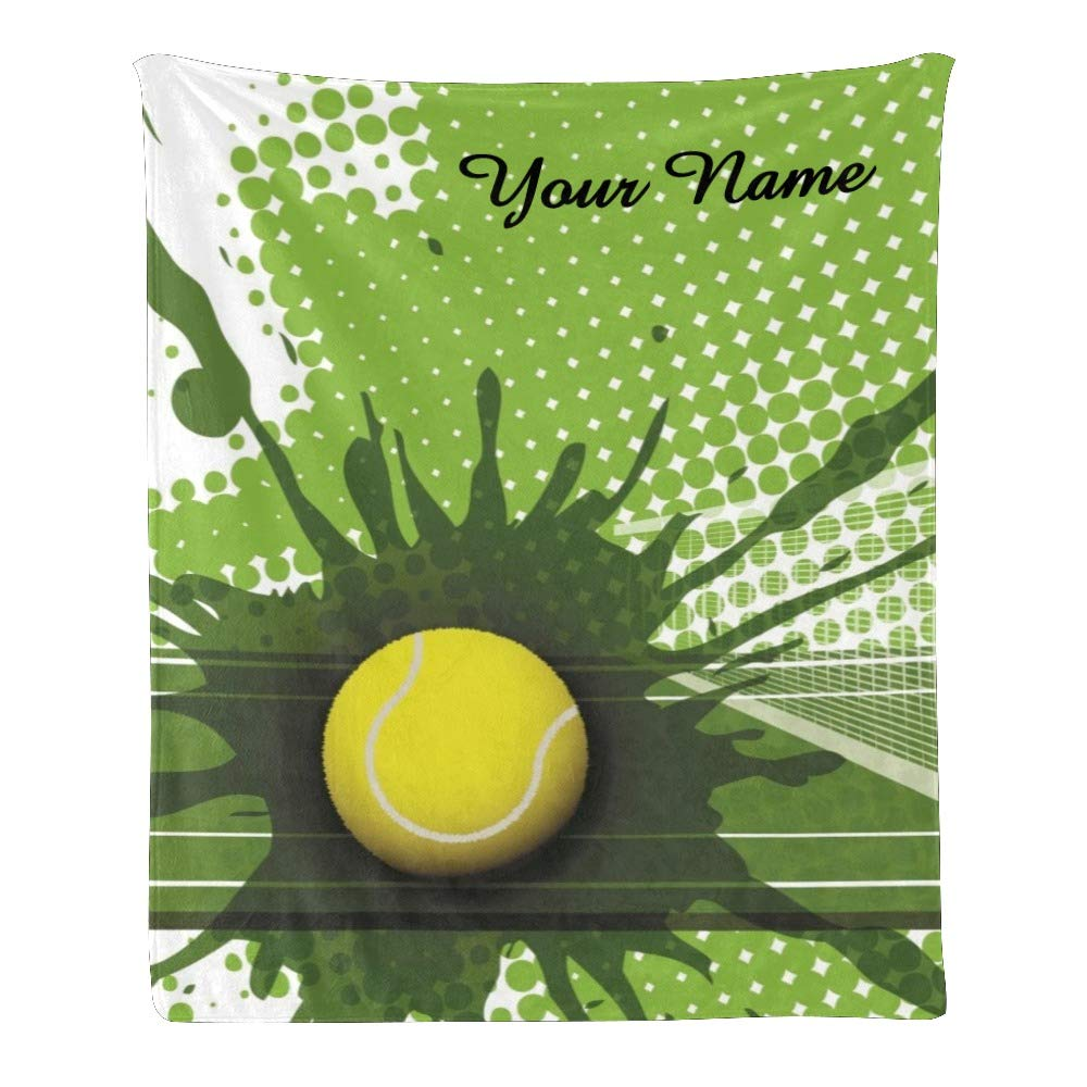 Personalized Kids Fleece Blanket with Name Custom Tennis in Green Baby Throw Blanket for Bed (30 x 40 inches)