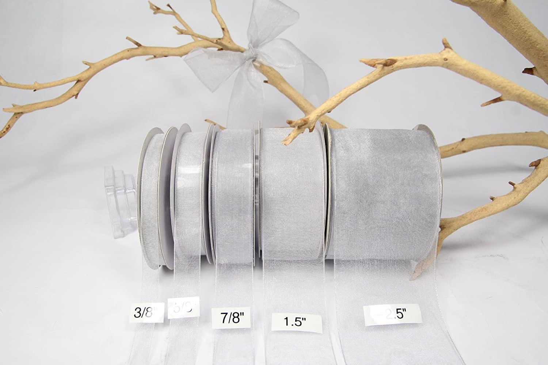 Silver Organza Sheer Ribbon-25 Yards X 1.5 Inch Ribbon