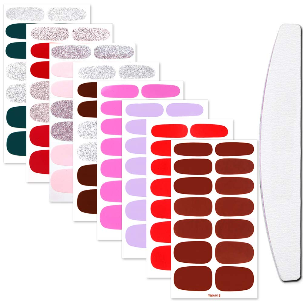 WOKOTO 8 Sheets Nail Self-Adhesive Polish Stickers Strips with Nail Files Set Manicure Stickers Wraps for Nails Kit