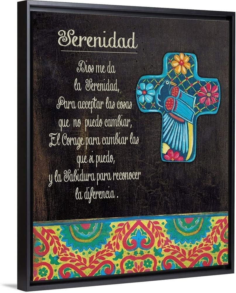 Serenity Prayer Black Float Frame Canvas Art, 38
