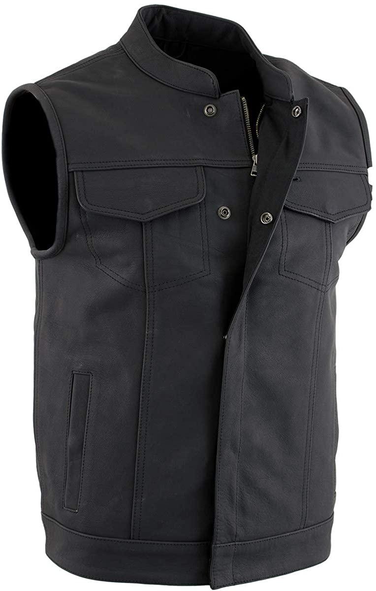 Xelement XS13001 Men's 'Barrage' Flat Black Club Leather Vest