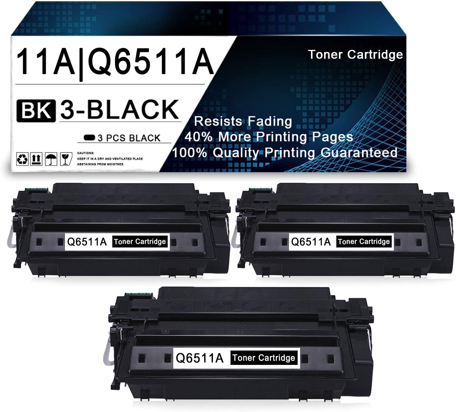 3 Pack Black 11A | Q6511A Compatible Toner Cartridge Replacement for HP Laserjet 2430 2410 2420 2420d 2420n 2420dn 2430tn 2430dtn 2430n Printers.