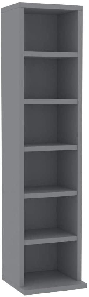 Unfade Memory CD Cabinet Media Shelf Narrow Bookshelf, Chipboard Media Storage Cabinet, Multi-Functional Storage Cabinets (Gray)