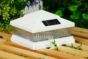 5 x 5 Premium PVC Vinyl Fence White Post Cap Solar Lights 5 LEDs-PF88W series-5X5-VW5