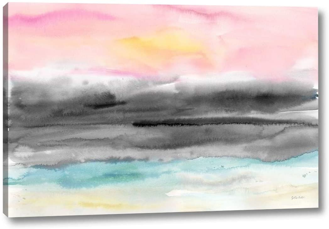 Pink Sunset Abstract Landscape by Cynthia Coulter - 11 x 16 Canvas Art Print Gallery Wrapped - Ready to Hang