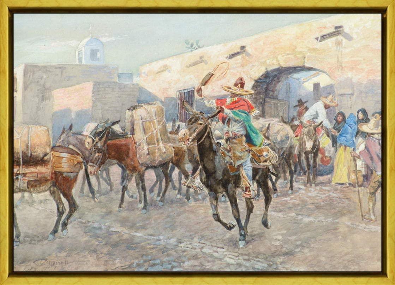 Berkin Arts Carl Rungius Framed Giclee Print On Canvas-Famous Paintings Fine Art Poster-Reproduction Wall Decor(Russell Mexican Leaving an Inn) #XLK