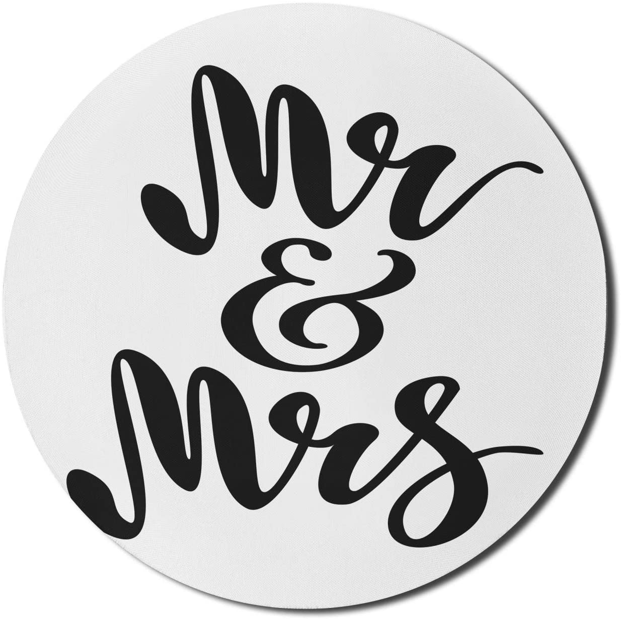 Ambesonne Mr Mrs Mouse Pad for Computers, Hand Drawn Brush Pen Lettering Design Curved and Swirled Lines Monochrome Words, Round Non-Slip Thick Rubber Modern Gaming Mousepad, 8