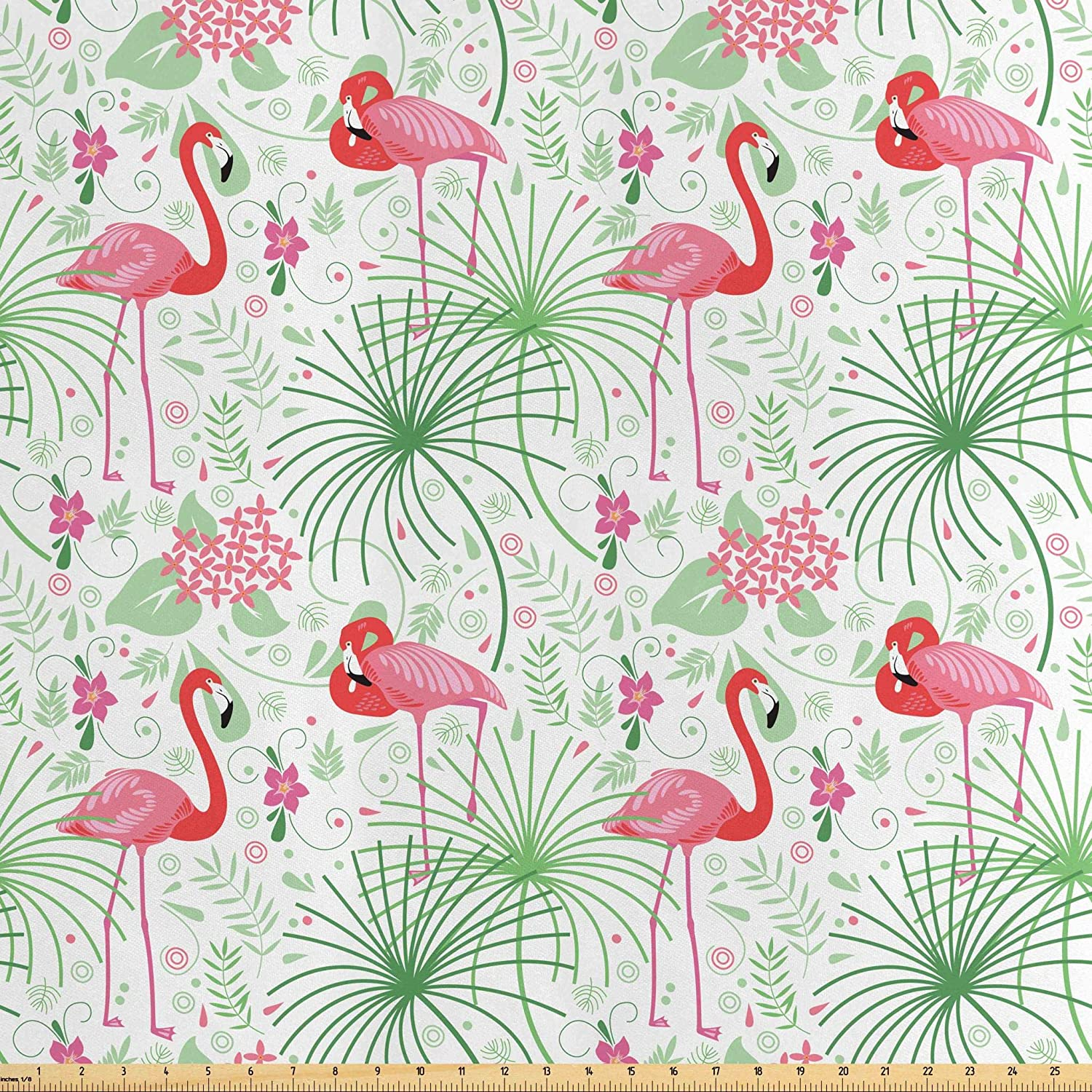 Lunarable Nautical Fabric by The Yard, Floral Pattern Flamingo Botany Greenery Floral Romantic Feminine Design Art, Decorative Satin Fabric for Home Textiles and Crafts, 1 Yard, Green Pink White