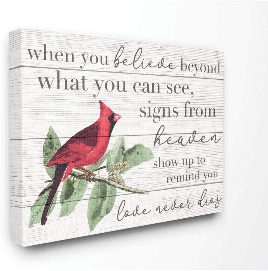 Stupell Industries Believe Love Never Dies Inspirational Cardinal Bird Word Canvas Wall Art, 16 x 20, Design by Artist Daphne Polselli