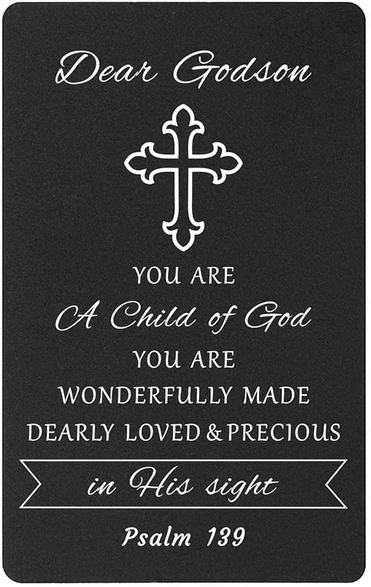 TANWIH Godson Gifts Wallet Card, Baptism Christian Christening Prayer Gifts for Boys Men Godson, Godson Gift Cards from Godmother Godfather, You Are A Child of God Presents