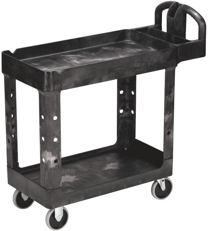 Rubbermaid Commercial 450088BK Heavy-Duty Utility Cart Two-Shelf 17-1/8w x 38-1/2d x 38-7/8h Black