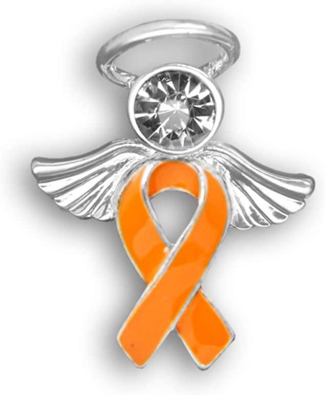 10 Pack Angel Orange Ribbon Awareness Awareness Pins(10 Pins Individually Bagged)