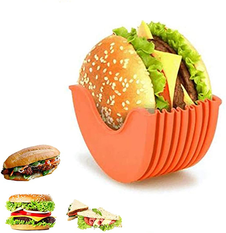 Original Burger Holder, Hygienic Reusable Hamburger Bun Shell, Eco Friendly Mess, Free Alternative to Wax Paper, Aluminum Foil, Tin Foil Sheets, Recyclable (1PC, Orange)