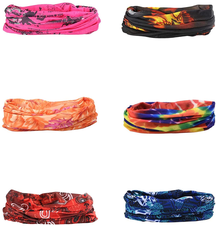 6PCS Headwear, Bandana, Neck Gaiter, Face Mask with High Performance Moisture Wicking Microfiber