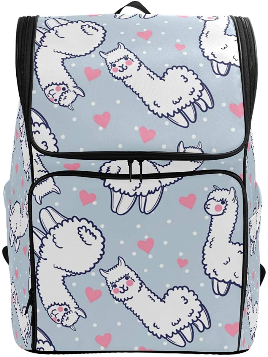 Kaariok Cute Alpacas Hearts Llama Japanese Animal Style Polka Dot Backpack Bookbags College Laptop Daypack Travel School Hiking Bag for Womens Mens