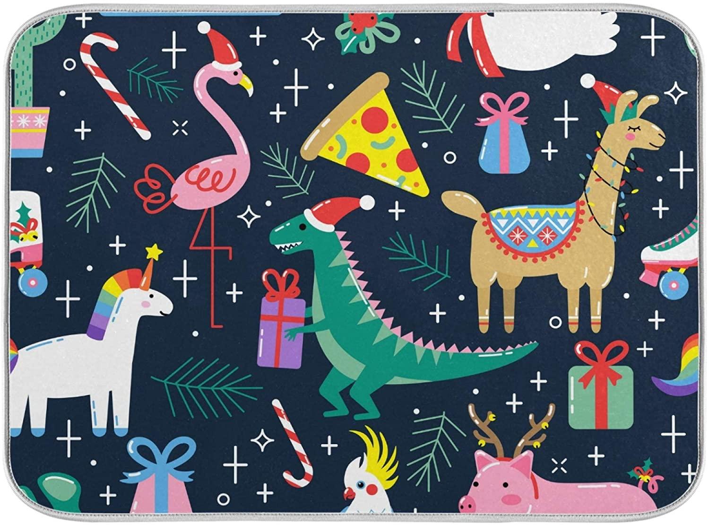 Aflyko Christmas Unicorn Flamingo Dish Drying Mat Countertop Protector Kitchen Decor 16
