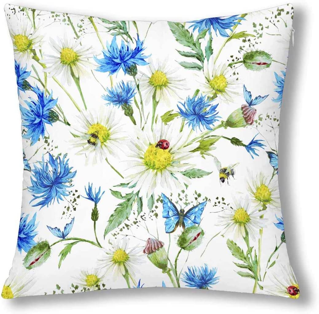 INTERESTPRINT Summer Watercolor Ladybug Butterfly on Floral Daisies Decor Throw Cushion Pillow Case Cover 18x18 Inch, Square Zippered Pillowcase Protector