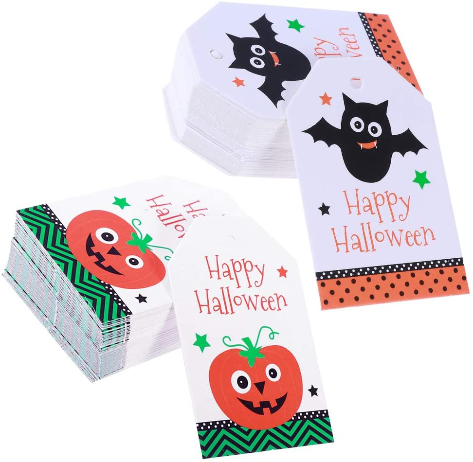 FUNZZY Halloween Pumpkin Message Cards Creative Bat Candy Treats Bags Biscuit Boxes Tags Halloween Party Supplies 100 Pcs