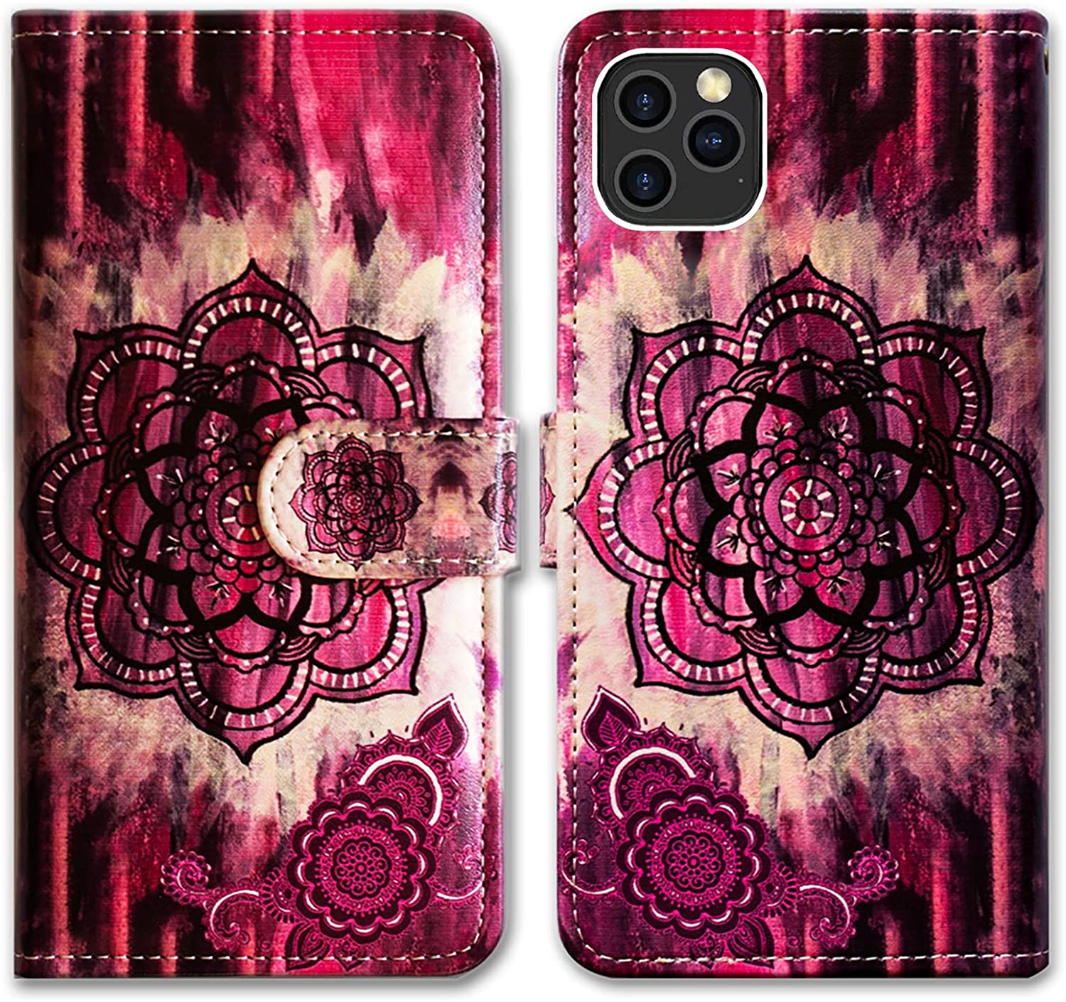 iPhone 12 Pro Max Case,Bcov Retro Pink Mandala Leather Flip Phone Case Wallet Cover with Card Slot Holder Kickstand for iPhone 12 Pro Max