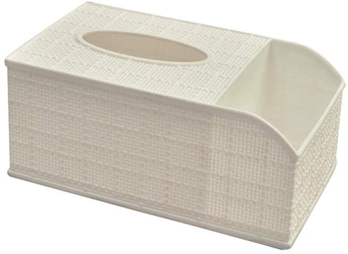 YXYLQ Linen Pattern Tissue Box Household Living Room Dining Room Pumping Box Tissue Holder Remote Control Storage Box-White