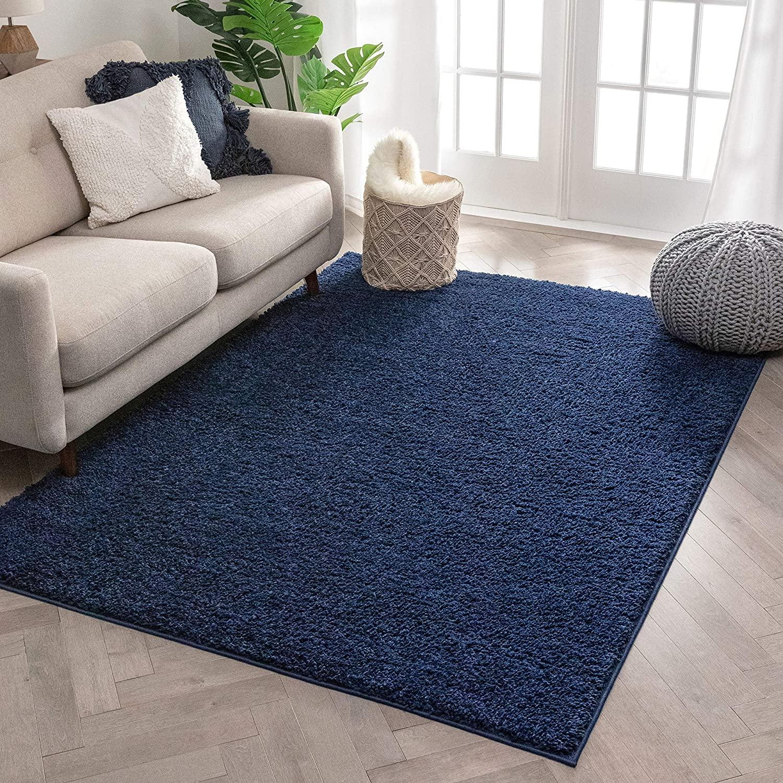 Well Woven Solid Color Indigo Blue Soft Shag Area Rug 9x13 (9'3