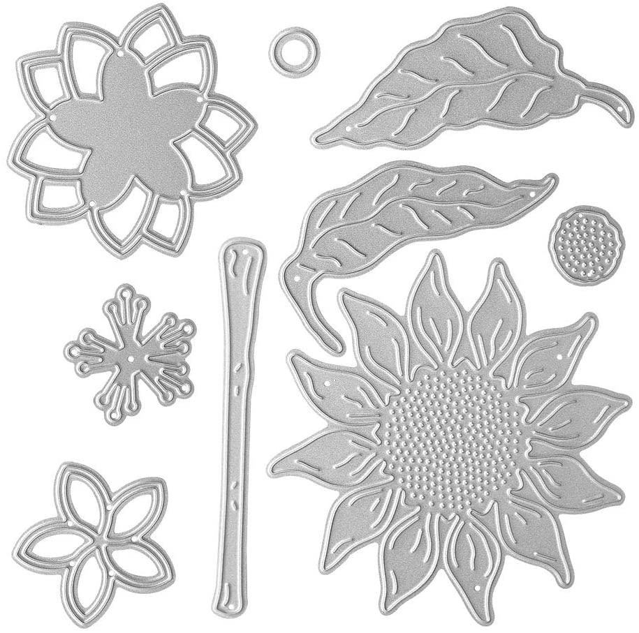 Metal A Sunflower Cutting Dies+A Stereoscopic 3D Flower Die Cuts Embossing Stencils Template Mould for Card DIY Scrapbooking Album Stamp Paper Card Embossing Crafts Decoration
