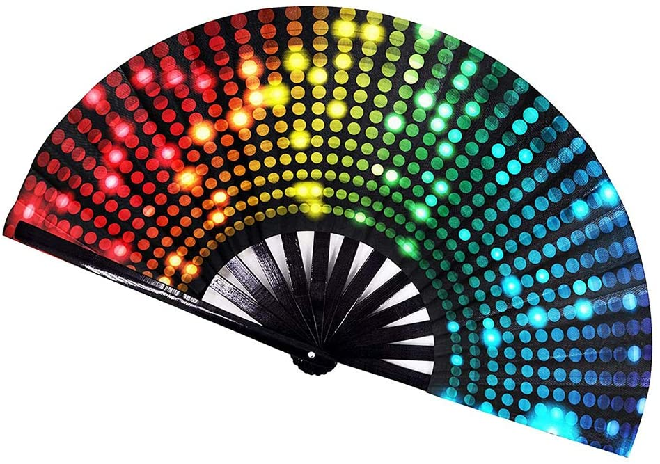 OonlyoO Bamboo Folding Fans Colourful Handheld Fan Performance Accessories