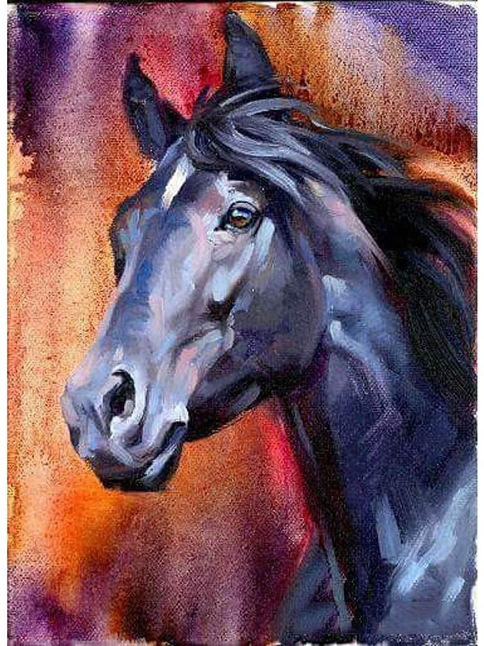 Bimkole 5D Diamond Painting Horse Animal by Number Kits Paint with Diamonds Arts Craft Home Decor, 12x16 inch(M7-1199)