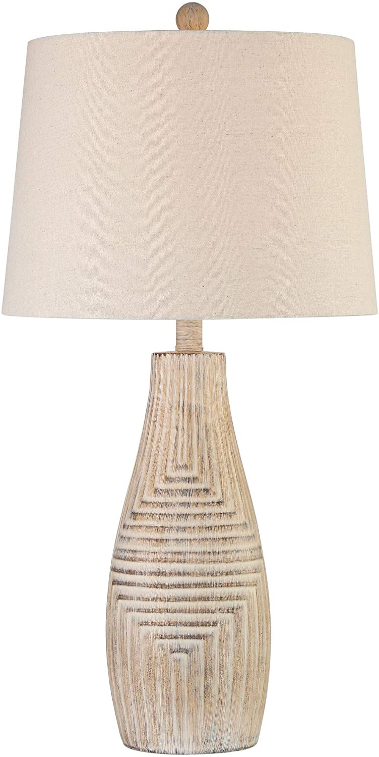 Chico Southwest Rustic Table Lamp Faux Light Wood Oatmeal Fabric Drum Shade for Living Room Bedroom Bedside Nightstand Office Family - John Timberland