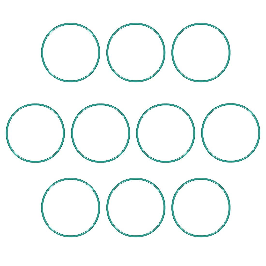 uxcell Fluorine Rubber O-Rings, 53mm OD 49.2mm ID 1.9mm Width FKM Seal Gasket for Vehicle Machinery Plumbing, Green, Pack of 10