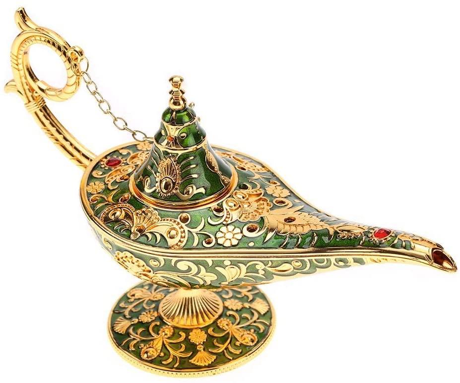 awstroe Magical Legend Aladdin'S Genie Lamp, Aladdin Lamp, Lightweight Anti-Oxidize Anti-Rust Exquisite Fadeless for Home Decoration (Green)