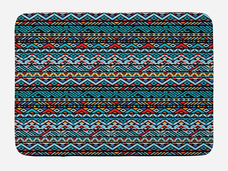 Lunarable Tribal Bath Mat, Colorful Geometric Mexican Pixel Art Pattern Indigenous Native Style, Plush Bathroom Decor Mat with Non Slip Backing, 29.5