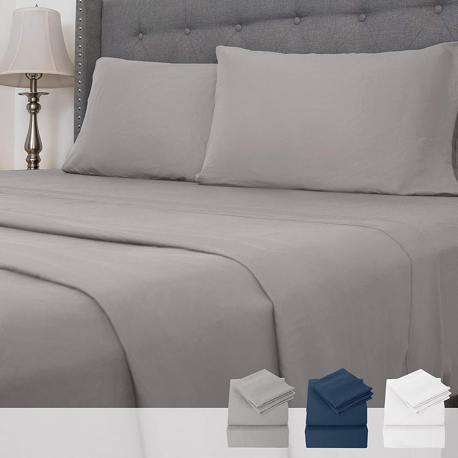 Boston Traders 4 Piece Microfiber Bed Sheets Set - Wrinkle Fade and Stain Resistant Hypoallergenic Bed Sheets (Grey, Queen)