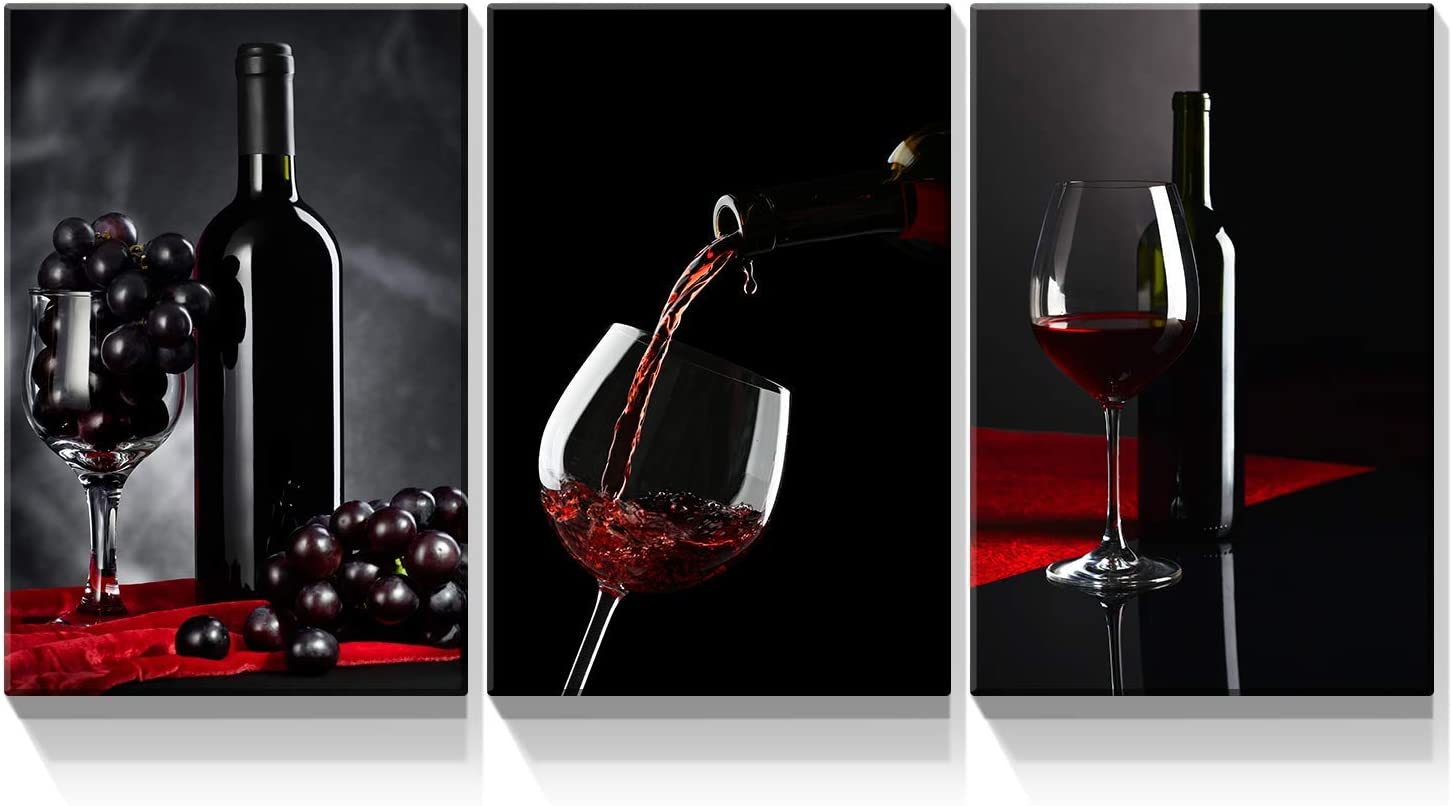 Denozer - 3 Panels Canvas Wall Art Red Wine and Glass Painting Artwork for Home Decor Stretched and Framed Ready to Hang - 12x16x3 Panels