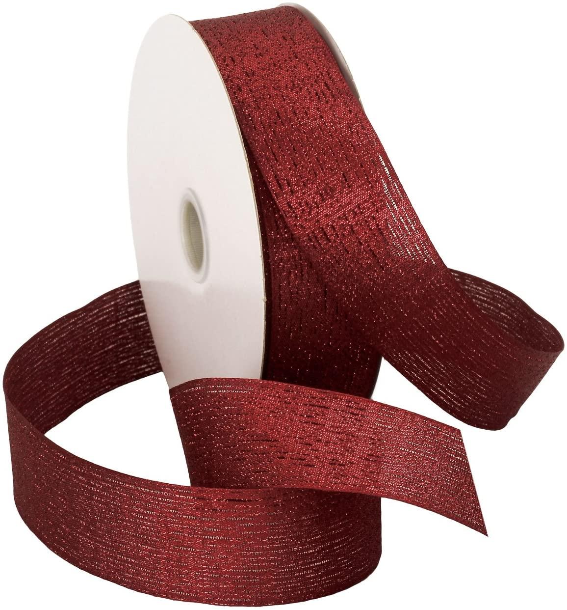Morex Wired Vienna Glitter Ribbon, 1-1/2-Inch by 50-Yard Spool, Merlot