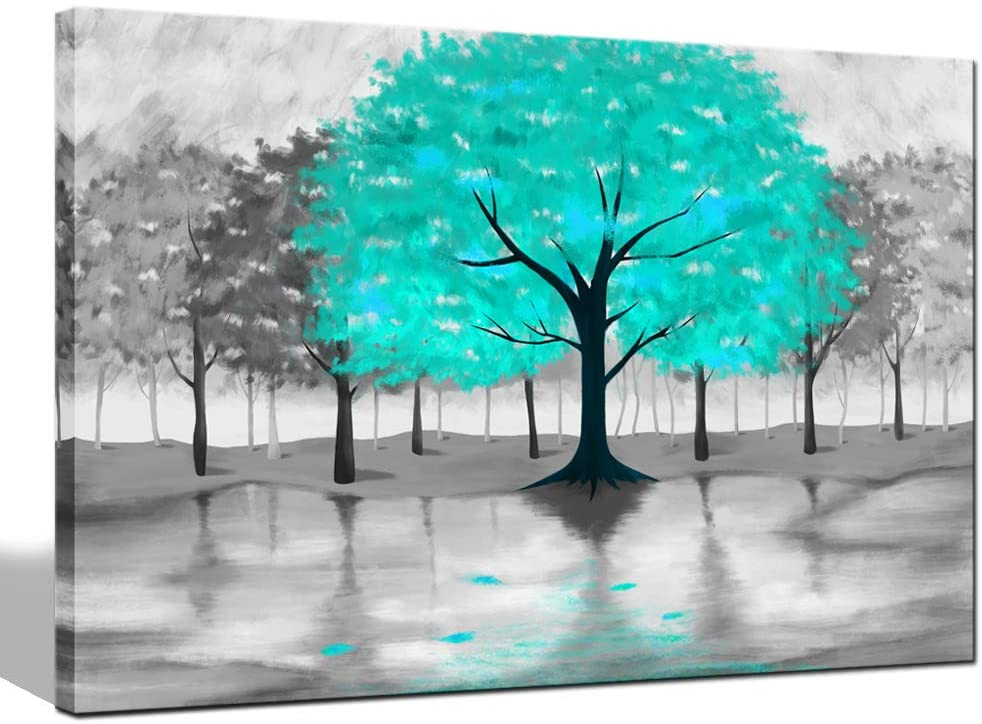 sechars Modern Canvas Wall Art Abstract Turquoise Tree Paintings Picture Wall Art Grey and Teal Bathroom Decor Forest Art Prints for Home Living Room Decorations Framed Ready to Hang