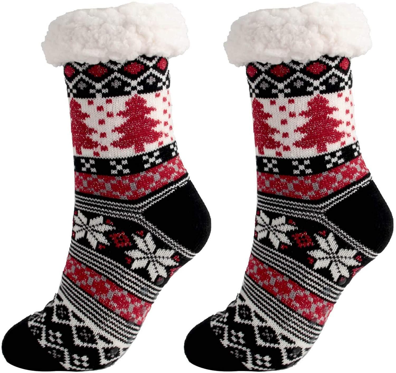 Women Christmas Slipper Socks Fleece Lined Sock Winter Thermal Fuzzy Socks with Grippers Xmas Gift
